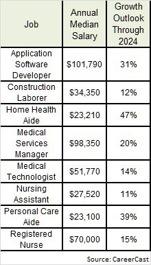 CareerCast in demand jobs 2019