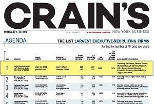 Crain's top exec recruting firm 2017