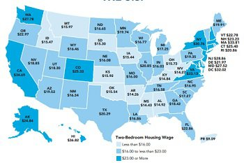 US map showing hourly wage by state