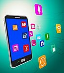 social media icons and smartphone