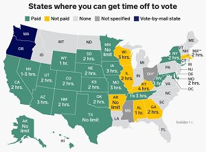 state map of time off to vote