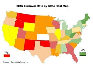 turnover rates by state heat map